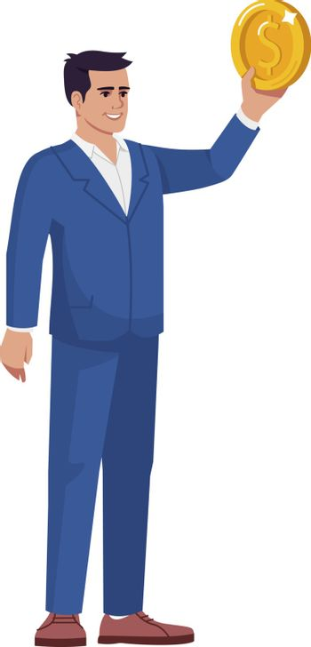 Successful banker semi flat RGB color vector illustration. Investment manager with golden coin isolated cartoon character on white background. Company assets and income increase income