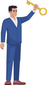 Business success mentorship semi flat RGB color vector illustration. Businessman sharing key secrets isolated cartoon character on white background. Finance expert, motivational speaker concept
