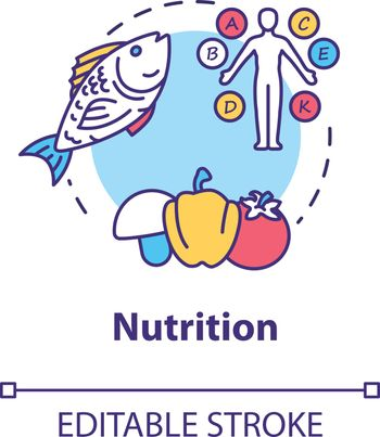 Nutrition concept icon. Healthy eating, balanced diet idea thin line illustration. Nutrient products, vitamins consumption. Vector isolated outline RGB color drawing. Editable stroke
