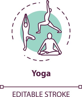 Yoga concept icon. Healthy lifestyle, relaxing workout idea thin line illustration. Active exercises and meditation therapy. Vector isolated outline RGB color drawing. Editable stroke