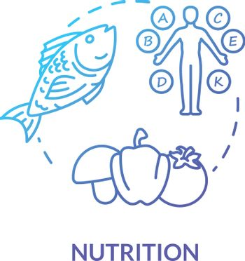 Nutrition concept icon. Healthy eating, balanced diet idea thin line illustration. Nutrient organic products, natural vitamins consumption. Vector isolated outline RGB color drawing