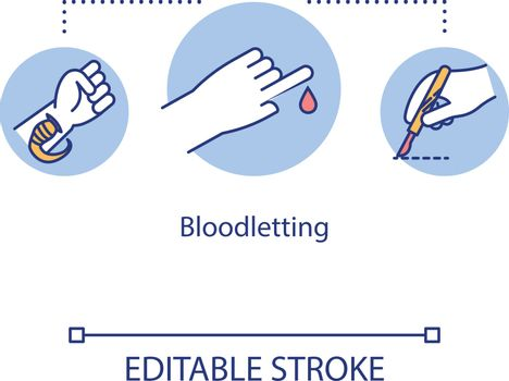 Bloodletting concept icon. Therapeutic phlebotomy idea thin line illustration. Withdrawal of blood. Leeching. Leech therapy. Hirudotherapy. Vector isolated outline RGB color drawing. Editable stroke