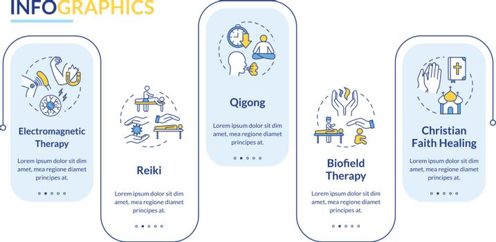 Alternative medicine vector infographic template. Reiki and biofield therapy presentation design elements. Data visualization with five steps. Process timeline chart. Workflow layout with linear icons