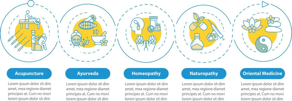 Traditional alternative medicine vector infographic template. Homeopathy presentation design elements. Data visualization with five steps. Process timeline chart. Workflow layout with linear icons