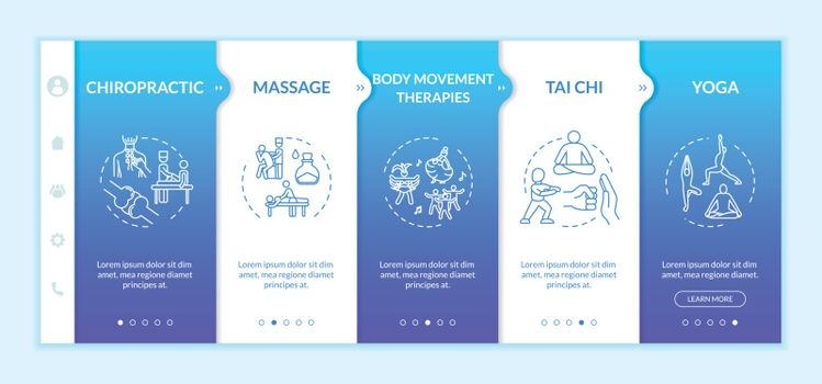 Complementary medicine onboarding vector template. Responsive mobile website with icons. Chiropractic, therapeutic massage, tai chi and yoga webpage walkthrough step screens. RGB color concept