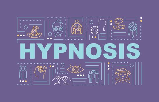 Hypnosis word concepts banner. Hypnotherapy. Subconsciousness. Infographics with linear icons on purple background. Isolated typography. Vector outline RGB color illustration