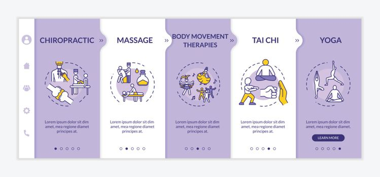 Sensory medicine onboarding vector template. Complementary healing techniques responsive mobile website with icons. Healthy lifestyle. Webpage walkthrough step screens. RGB color concept