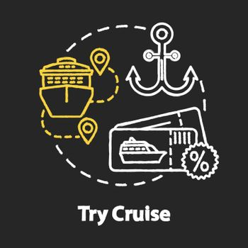 Try cruise chalk RGB color concept icon. Luxury tourism, expensive holiday vacation idea. Maritime travel on ocean liner. Vector isolated chalkboard illustration on black background