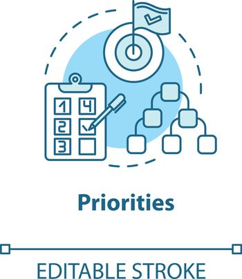 Priorities concept icon. Self-building and development. Taking on opportunities. Goal setting idea thin line illustration. Vector isolated outline RGB color drawing. Editable stroke