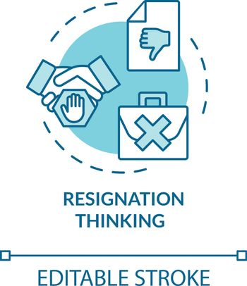 Resignation thinking turquoise concept icon. Quit firm. Dismissed from position. Burnout symptom idea thin line illustration. Vector isolated outline RGB color drawing. Editable stroke