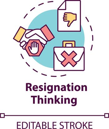 Resignation thinking concept icon. Failure at work. Corporate conflict. Dismissed from position. Burnout symptom idea thin line illustration. Vector isolated outline RGB color drawing. Editable stroke