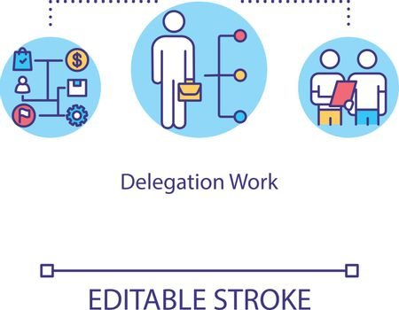 Delegation work concept icon. Responsibility and authority idea thin line illustration. Subordination. Management, supervision. Vector isolated outline RGB color drawing. Editable stroke