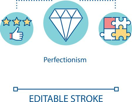 Perfectionism concept icon. Striving for perfection idea thin line illustration. Obsessive behavior. High standard. Vector isolated outline RGB color drawing. Editable stroke