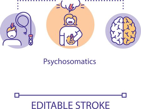 Psychosomatics concept icon. Mind and body relationship idea thin line illustration. Emotional stress. Vector isolated outline RGB color drawing. Editable stroke