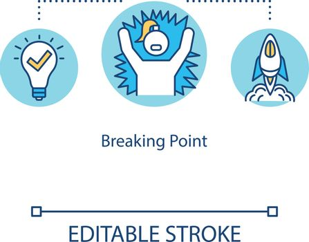 Breaking point concept icon. Emotional breakdown. Burnout idea thin line illustration. Stress, depression. Vector isolated outline RGB color drawing. Editable stroke
