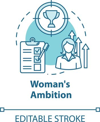 Womans ambition turquoise concept icon. Career opportunities. Work aspirations. Professional growth. Equality idea thin line illustration. Vector isolated outline RGB color drawing. Editable stroke