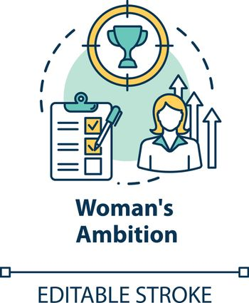 Womans ambition concept icon. Career opportunities. Work aspirations. Professional growth. Gender equality idea thin line illustration. Vector isolated outline RGB color drawing. Editable stroke