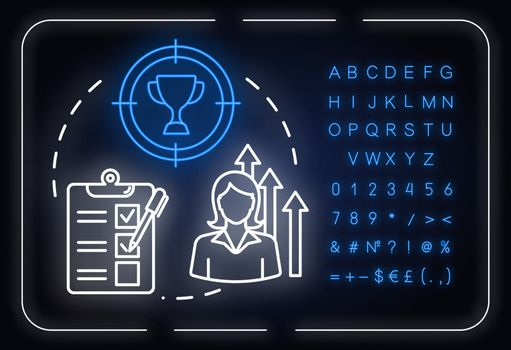 Womans ambition neon light concept icon. Career opportunities. Work aspirations. Gender equality idea. Outer glowing sign with alphabet, numbers and symbols. Vector isolated RGB color illustration