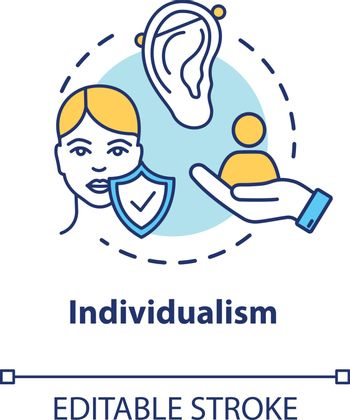 Individualism concept icon. Self-affirmation. Freedom of action. Individualist feminism idea thin line illustration. Vector isolated outline RGB color drawing. Editable stroke