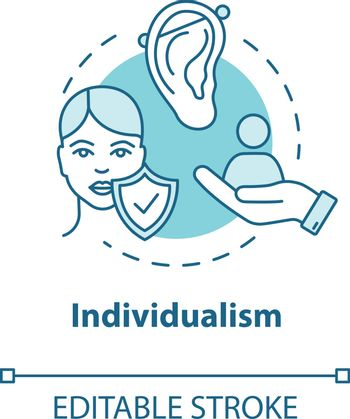 Individualism turquoise concept icon. Self-affirmation. Freedom of action. Individualist feminism idea thin line illustration. Vector isolated outline RGB color drawing. Editable stroke