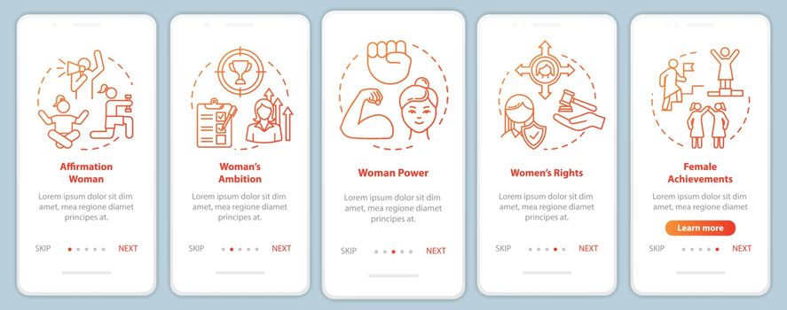 Women right onboarding mobile app page screen with concepts. Girls power, ambition and achievement walkthrough 5 steps graphic instructions. UI vector template with RGB color illustrations