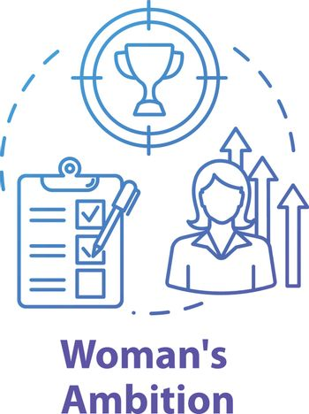 Womans ambition blue concept icon. Career opportunities. Work aspirations. Professional growth. Gender equality idea thin line illustration. Vector isolated outline RGB color drawing