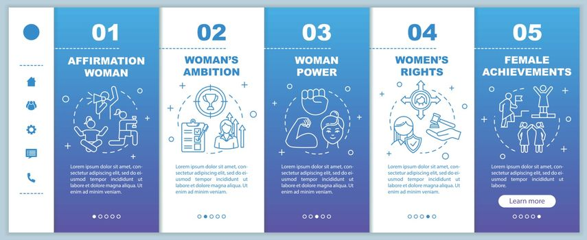Feminism onboarding vector template. Women affirmation, ambition and achievement. Female rights. Responsive mobile website with icons. Webpage walkthrough step screens. RGB color concept
