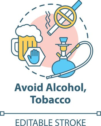 Avoid alcohol and tobacco concept icon. Give up cigarette. Refuse beer. Stop addiction. Healthcare idea thin line illustration. Vector isolated outline RGB color drawing. Editable stroke