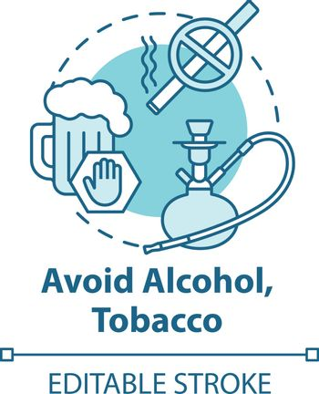 Avoid alcohol and tobacco concept icon. Give up bad habit. Refuse beer. Stop addiction. Healthcare idea thin line illustration. Vector isolated outline RGB color drawing. Editable stroke