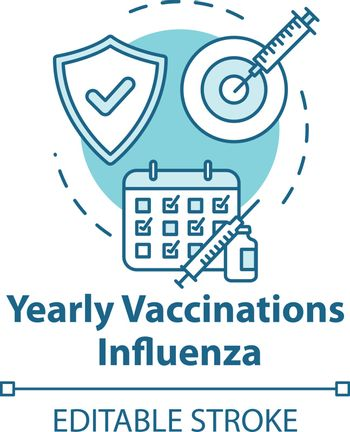 Yearly vaccination for influenza concept icon. Clinic appointment. Healthcare treatment. Flu virus idea thin line illustration. Vector isolated outline RGB color drawing. Editable stroke