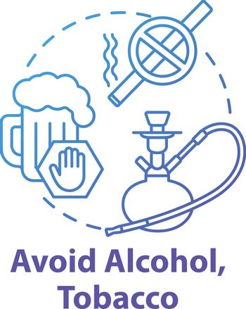 Avoid alcohol and tobacco concept icon. Influenza help. Give up cigarette. Refuse beer. Stop addiction. Healthcare idea thin line illustration. Vector isolated outline RGB color drawing