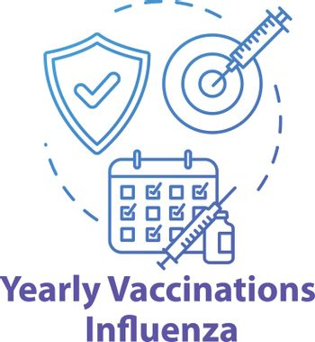 Yearly vaccination for influenza concept icon. Injection in time. Infection precaution. Healthcare treatment. Flu virus idea thin line illustration. Vector isolated outline RGB color drawing