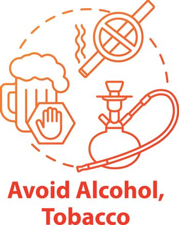 Avoid alcohol and tobacco concept icon. Stop substance abuse. Give up cigarette. Refuse beer. Stop addiction. Healthcare idea thin line illustration. Vector isolated outline RGB color drawing