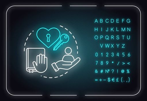 Being trustworthy neon light concept icon. People secrets keeping. Being loyal, dependable friend idea. Outer glowing sign with alphabet, numbers and symbols. Vector isolated RGB color illustration