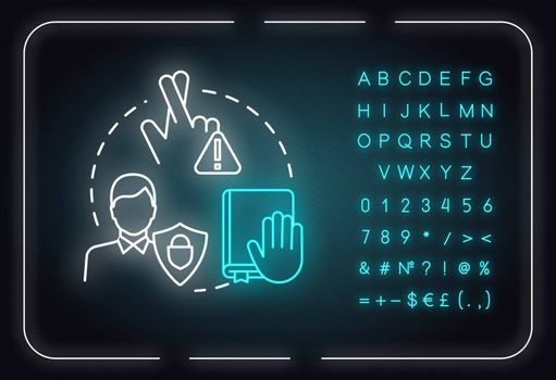 Keep your promises neon light concept icon. People secrets keeping. Being loyal, dependable friend idea. Outer glowing sign with alphabet, numbers and symbols. Vector isolated RGB color illustration