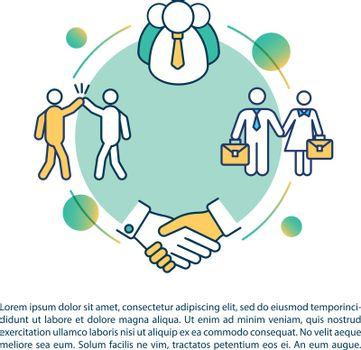 Coworkers friendship concept icon with text. Employees team together. Corporate workers friends PPT page vector template. Brochure, magazine, booklet design element with linear illustrations