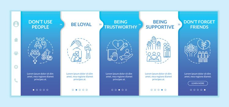 Being loyal onboarding vector template. Trustworthy, supportive, faithful friend. Personal values. Responsive mobile website with icons. Webpage walkthrough step screens. RGB color concept