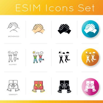 Social connection icons set. Linear, black and RGB color styles. Friendly interpersonal relationship, friendship. Brotherhood, enjoyment and generosity. Isolated vector illustrations