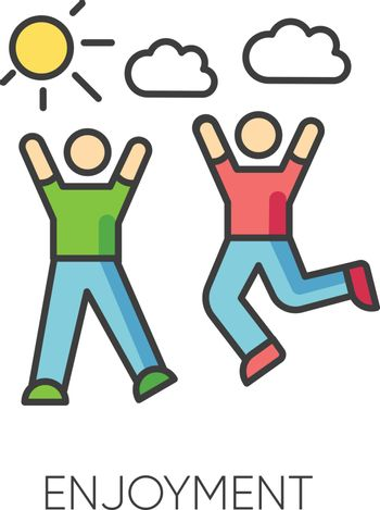 Enjoyment RGB color icon. Friendship, togetherness, happiness, friendly relationship symbol. Active pastime, outdoor recreation. Friends bonding activities. Isolated vector illustration