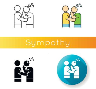 Sympathy icon. Linear black and RGB color styles. Friendly consolation and support, emotional care, friendship symbol. Comforting, cheering sad friend. isolated vector illustrations