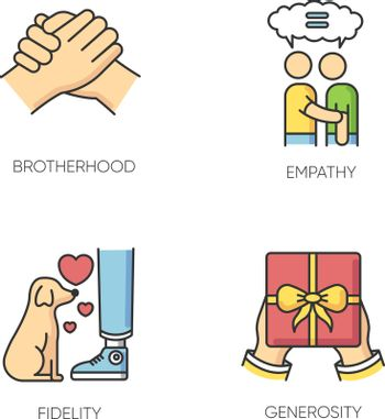 Friendly bonds RGB color icons set. Strong emotional attachment, friendship symbols. Interpersonal emotional connection. Brotherhood, empathy, fidelity and generosity. Isolated vector illustrations