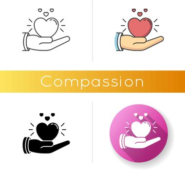 Compassion icon. Linear black and RGB color styles. Emotional support, friendly sympathy and assistance. Empathy, solidarity. Voluntary care, charitable help. isolated vector illustrations