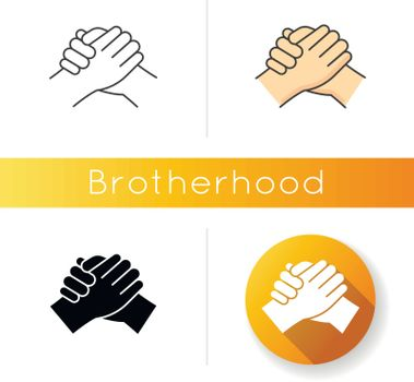 Brotherhood icon. Linear black and RGB color styles. Strong friendship, interpersonal bond between men, Togetherness, unity and fellowship. Manly handshake isolated vector illustrations