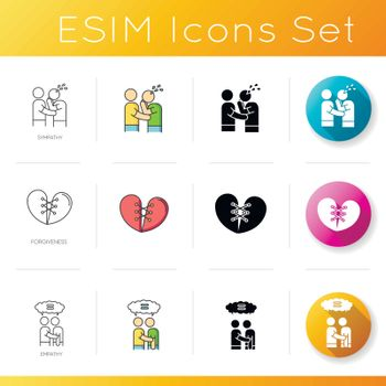 Friendly bonds icons set. Linear, black and RGB color styles. Strong emotional attachment, interpersonal relationship, friendship. Sympathy, forgiveness and empathy. Isolated vector illustrations