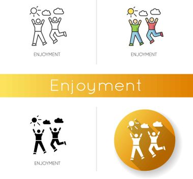 Enjoyment icon. Linear black and RGB color styles. Friendship, togetherness, happiness. Active pastime, outdoor recreation. Friends bonding activities. isolated vector illustrations