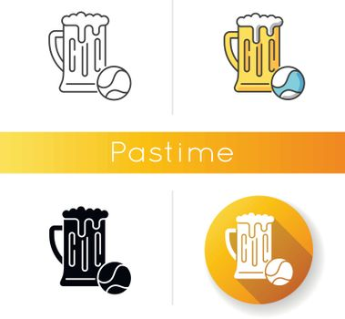 Pastime icon. Linear black and RGB color styles. Leisure activities, recreation types, hobbies. Sports game accessory and alcoholic drink. Tennis ball and beer pint isolated vector illustrations