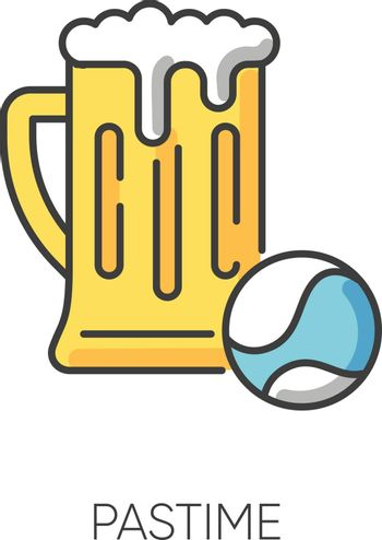 Pastime RGB color icon. Leisure activities, recreation types, healthy and unhealthy hobbies symbol. Sports game accessory and alcohol drink. Tennis ball and beer pint isolated vector illustration