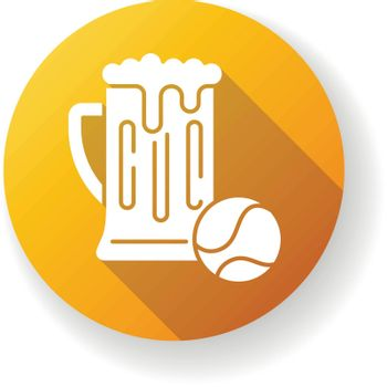 Pastime yellow flat design long shadow glyph icon. Leisure activities, recreation types, hobbies. Sports game accessory and alcohol drink. Tennis ball and beer pint Silhouette RGB color illustration