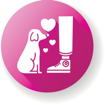 Fidelity pink flat design long shadow glyph icon. Best friend, friendship. Domestic animal love and loyalty, emotional attachment, faithfulness. Loyal little puppy Silhouette RGB color illustration