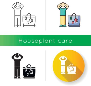 Withering plant icon. Dead domesticated plant. Wilting houseplant. Dying flower. Unfavourable conditions. Indoor gardening. Linear black and RGB color styles. Isolated vector illustrations